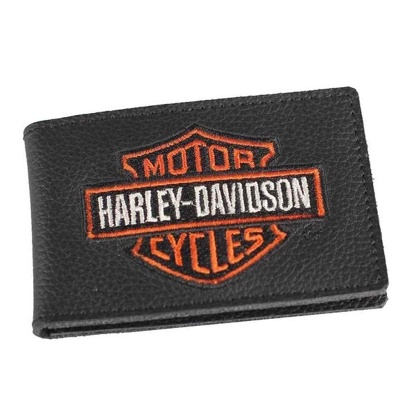 "Harley-Davidson Mens Embroidered B&S Duo-Fold Leather Wallet, XML4394-ORGBLK - 4"" x 2.75"""