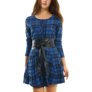Unique Bargains Women's Single Breasted Long Sleeves Belted Mini Plaids A Line Dress