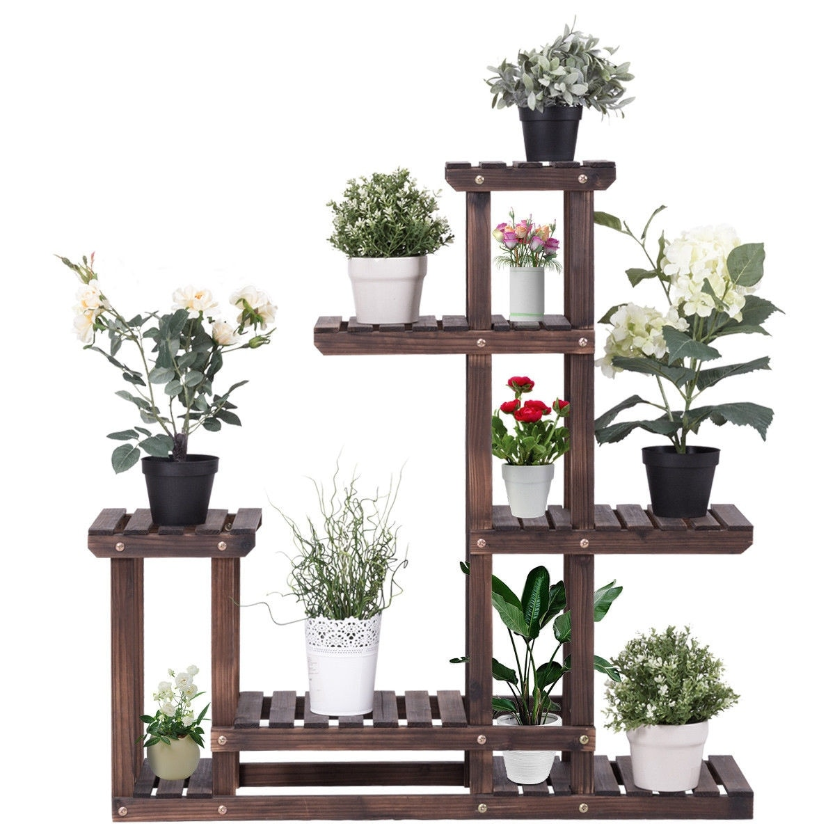 Costway Outdoor Wooden Plant Flower Display Stand 6 Wood Shelf Storage Rack  Garden