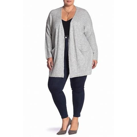 Catherine Malandrino Women's Pocket Gray Size 2X Plus Cardigan Sweater
