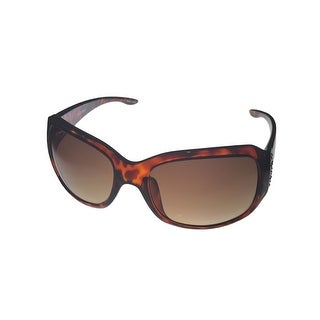 Ellen Tracy Sunglass 521 1 Tortoise Rectangle Plastic Crystals, Gradient Lens - Medium