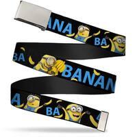 "Blank Chrome 1.0"" Buckle Minions Ba Ba Banana Black Blue Yellow Webbing Web Web Belt 1.0"" Wide - S"