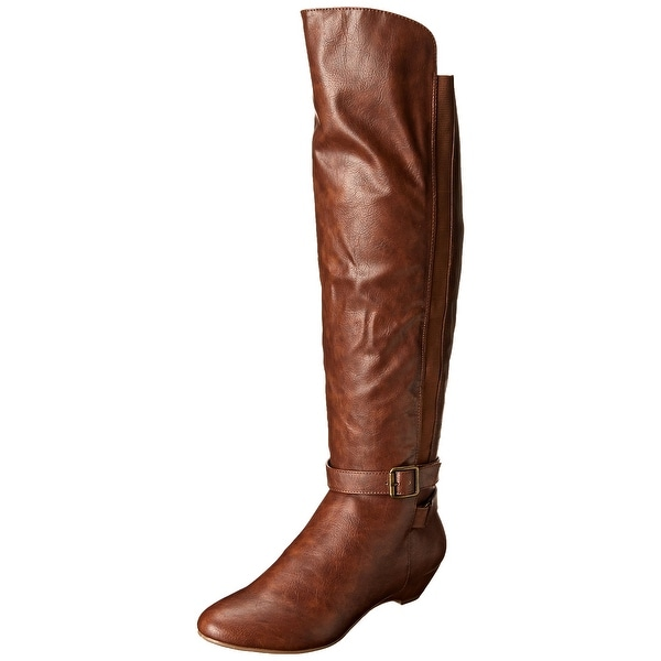 Madden Girl NEW Brown Shoes 7.5M Knee-High Patent Leather Boots