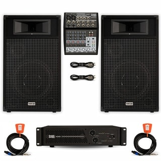 """Acoustic Audio BR12 DJ Speaker Set 12"""" Passive Speakers Amp Mixer and Cables for PA Karaoke Band"""