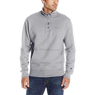 Champion Mens Powerblend Quarter-Zip Fleece, Oxford Grey, L