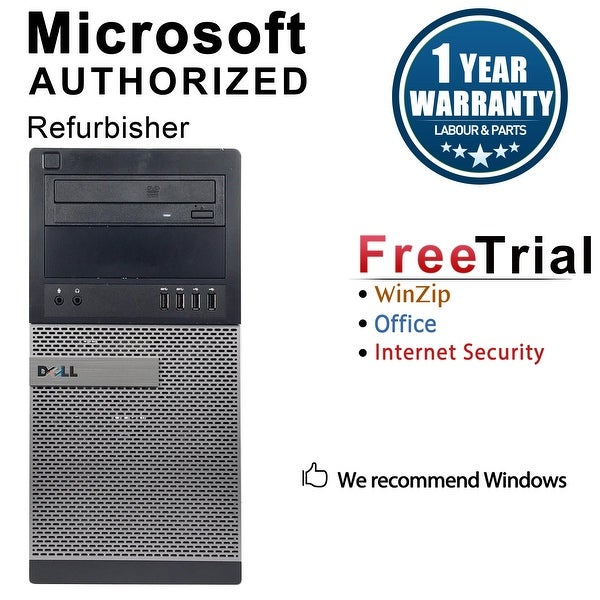 Dell OptiPlex 7010 Computer Tower Intel Core I5 3450 3.1G 4GB DDR3 1TB Windows 10 Pro 1 Year Warranty (Refurbished) - Black
