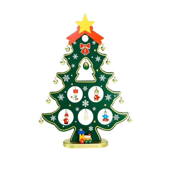 1125 wooden christmas tree cut out with miniature ornaments table top decoration green