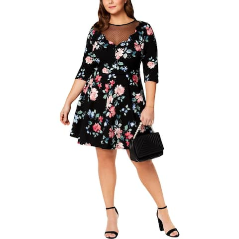 City Studio Womens Plus Cocktail Dress Party Illusion