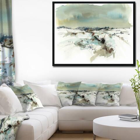 Designart 'Snowy Landscape Watercolor' Landscape Painting Framed Canvas Print