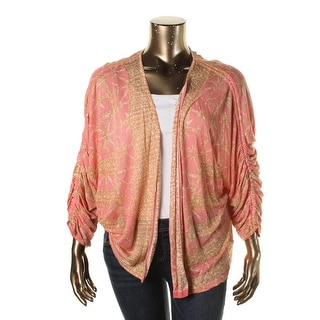Nic + Zoe Womens Plus Linen Blend Ruched Cardigan Sweater
