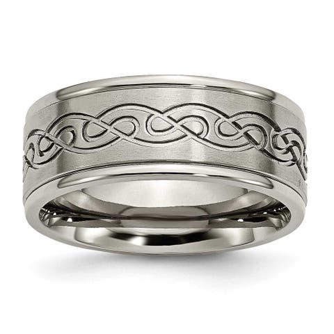 Titanium 9mm Scroll Design Brushed and Polished Band