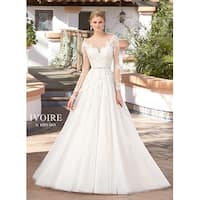 Embroidered Tulle A-Line Illusion Neckline Wedding Gown
