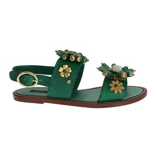 Dolce & Gabbana Green Leather Crystal Sandals - 37