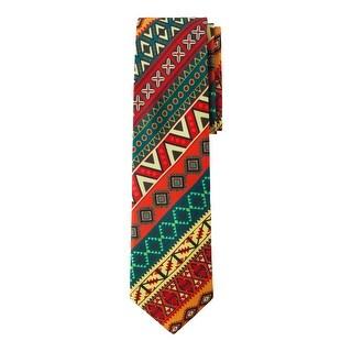Jacob Alexander Mexico Country Colors Men's Necktie - Mexican Festive Diagonal Pattern Design
