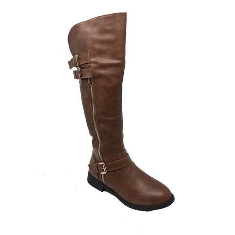 Ameta Brown Side Zipper Knee High Riding Boots Women