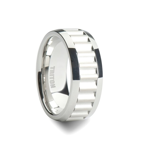 CARRICK White Tungsten Ring with Horizontal Gear Teeth Center by Triton Rings - 9mm