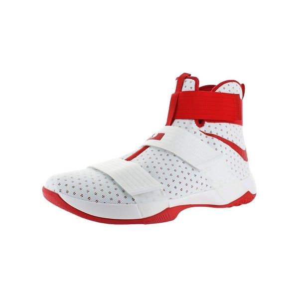 e6fbb86111e0 Nike LeBron Soldier 10 Men  x27 s Mesh High-Top Basketball Shoes White.  Click to Zoom