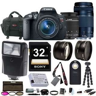 Canon EOS Rebel T5i with EF-S 18-55mm f/3.5-5.6 IS STM and 75-300mm f/4.0-5.6 EF III Zoom Lens + Deluxe Accessory Bundle