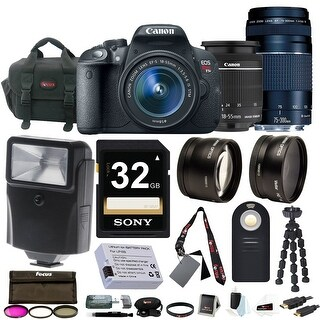 Canon EOS Rebel T5i with EF-S 18-55mm f/3.5-5.6 IS STM and 75-300mm f/4.0-5.6 EF III Zoom Lens with 32GB Deluxe Accessory Bundle
