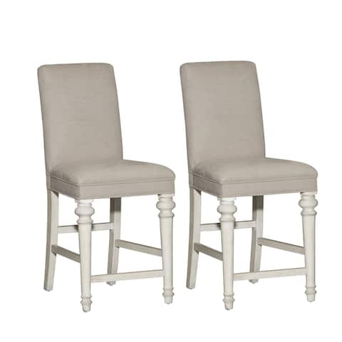 Heartland Antique White Upholstered Counter Height Barstool (Set of 2)