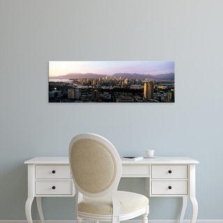 Easy Art Prints Panoramic Image 'Aerial view of cityscape at sunset, Vancouver, British Columbia, Canada' Canvas Art