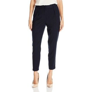 A X Armani Exchange Pleated Straight Leg Trousers Pants Navy - 2