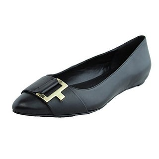 Calvin Klein Women's Bama Leather Pointed Toe Buckle Flats