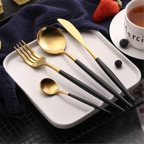 Black Gold Cutlery Set 24Pcs Knife Fork Spoon Stainless Steel Kitchen Tableware-Machine Washable Safe