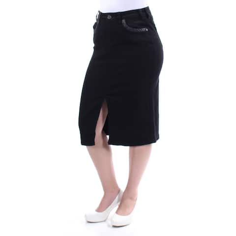 EARL JEAN Womens Black Slitted Faux Leather Trim Below The Knee Pencil Skirt Size: 4