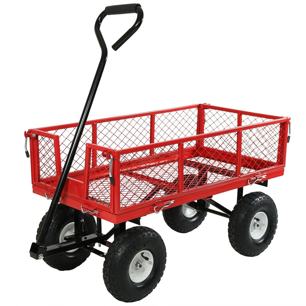 Sunnydaze Utility Cart with Removable Folding Sides, 400 Pound Weight Capacity - Multiple Colors - Thumbnail 20