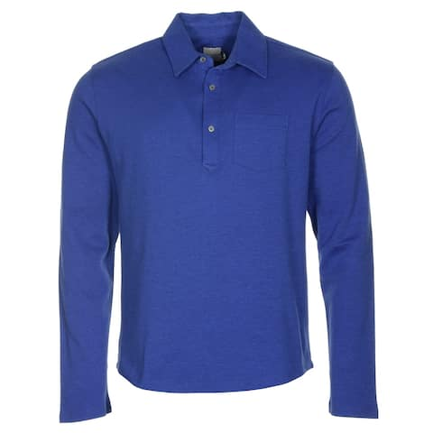 Hardy Amies Long Sleeve Cotton Polo Shirt Cobalt Blue X-Large