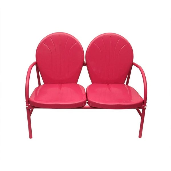 Pink Retro Metal Tulip 2-Seat Double Chair