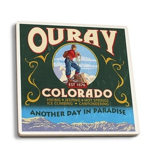 Ouray, CO - Vintage Sign - Lantern Press Artwork (Set of 4 Ceramic Coasters)