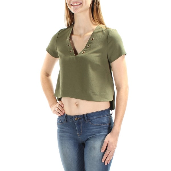 26c0707de6bb Shop CATHERINE MALANDRINO Womens Green Short Sleeve V Neck Crop Top Size   XS - On Sale - Free Shipping On Orders Over  45 - Overstock - 21270789