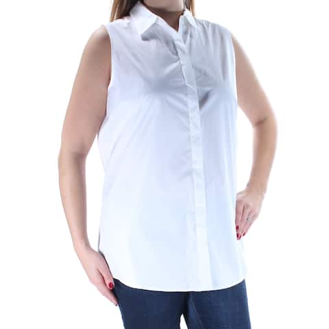 DKNY Womens White Sleeveless Collared Button Up Top Size: L