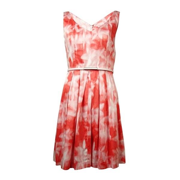 Calvin Klein Women's Blurred-Print Belted A-Line Dress - peach multi