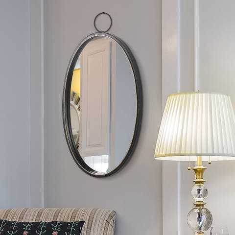 Black 12 Inch Mirrors Brushed Metal Frame Oval Wall Mirror for Wall Decor - 11.82*1.18*22.85