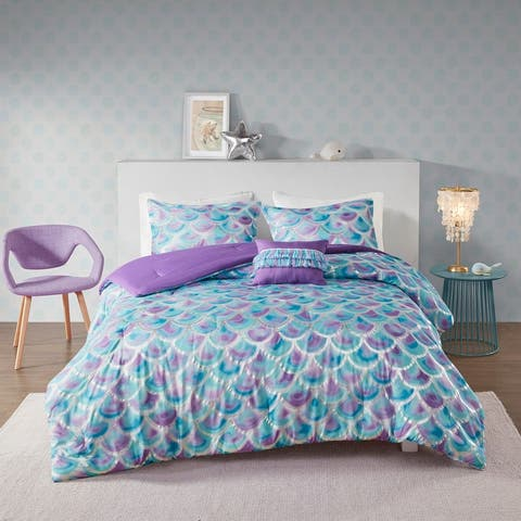 Mi Zone Phoebe Metallic Printed Reversible Comforter Set