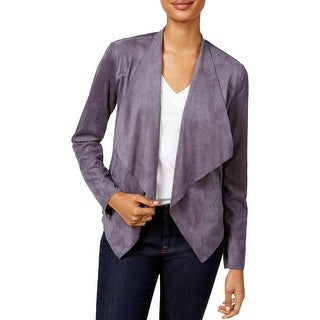 Kut From The Kloth Womens Collarless Blazer Faux Suede Asymmetric