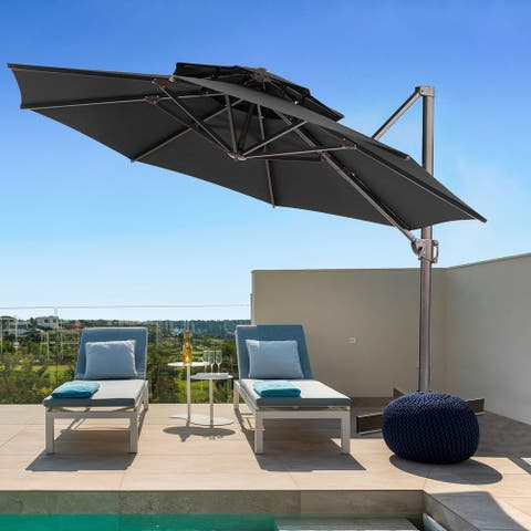 12-foot Outdoor Double Top Round Canopy Offset CantileverUmbrella