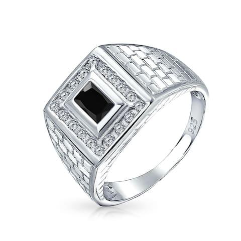 Geometric Rectangle 2 CT Black Emerald Cut AAA CZ Bezel Halo Mens Engagement Ring Imitation Onyx Band For Men