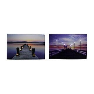 Serene Pier At Sunset LED Lighted Canvas Print Set