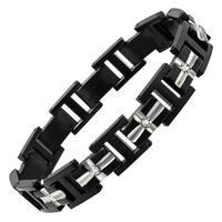 Men's 1/10 ct Diamond Link Bracelet in Stainless Steel