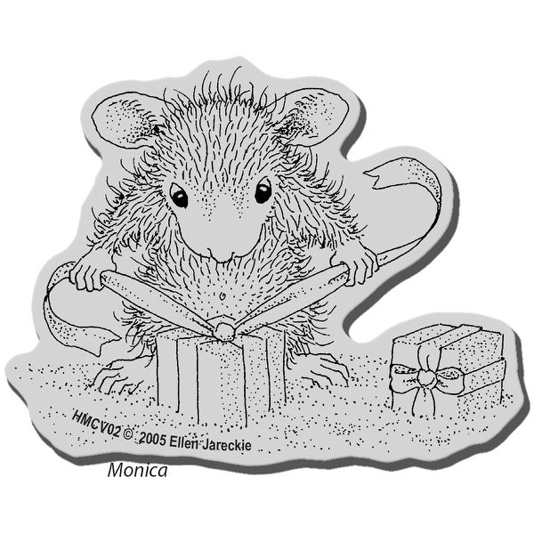 """Stampendous House Mouse Cling Stamp 3.5""""X4""""-Gifts To Tie"""