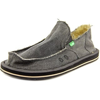 Sanuk Vagabond Men Round Toe Canvas Black Loafer