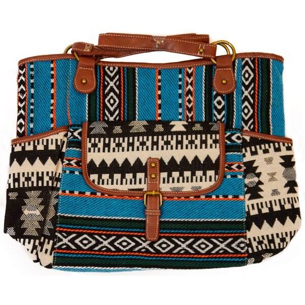 Women's Large Shoulder Tote Bag Handbag, Funky Tribal Pattern