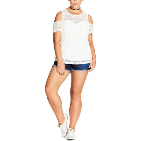 City Chic Womens Serenity Top Illusion Lace