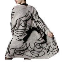 Knitted Cardigans Women print jumper Sweater Cardigan Coat