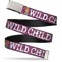 Blank Chrome  Buckle Pebbles Face Pose Wild Child Pink Black White Web Belt