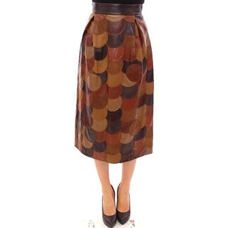 Dolce & Gabbana Brown Patchwork Leather Straight Skirt
